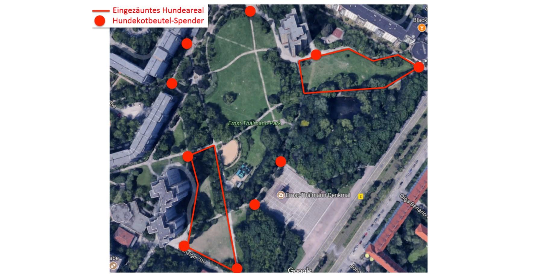 Zwei Auslaufgebiete fordert die Petition - und viele, viele Hundekotbeutelspender (Grafik: Fabian Kröll)