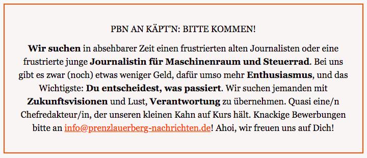 Prenzlauer Berg Nachrichten an Käptn