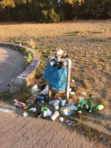 Müll im Ernst-Thälmann-Park / Foto: Tim Florian Horn