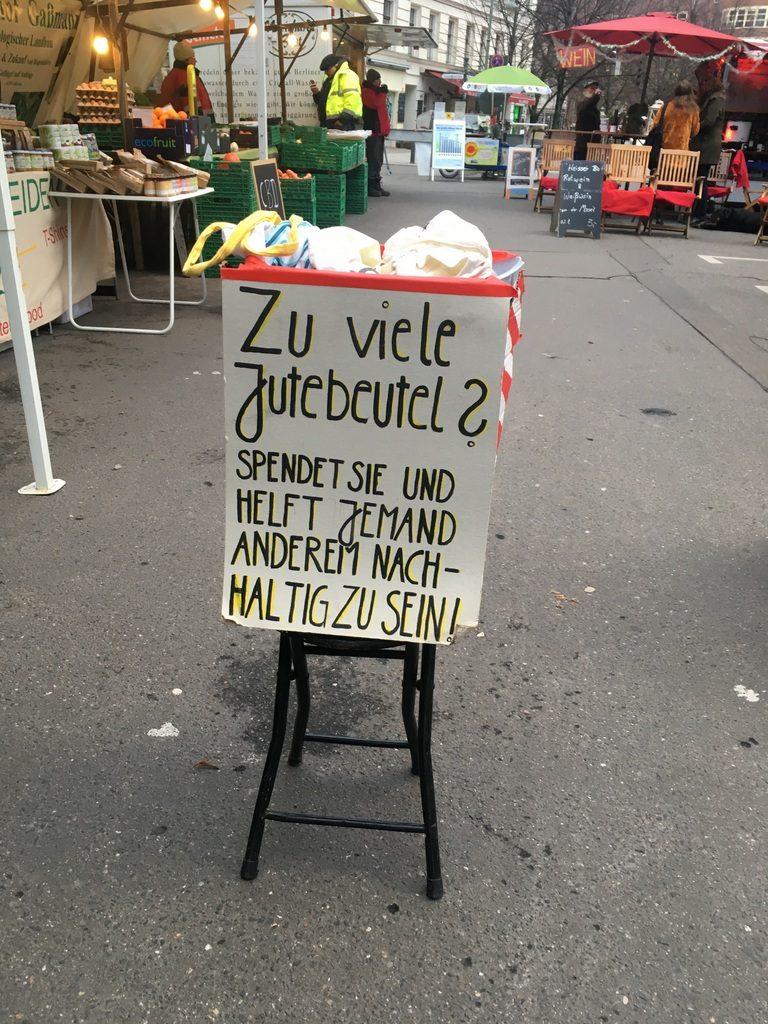 Jute Beutel Ökomarkt Kollwitzplatz