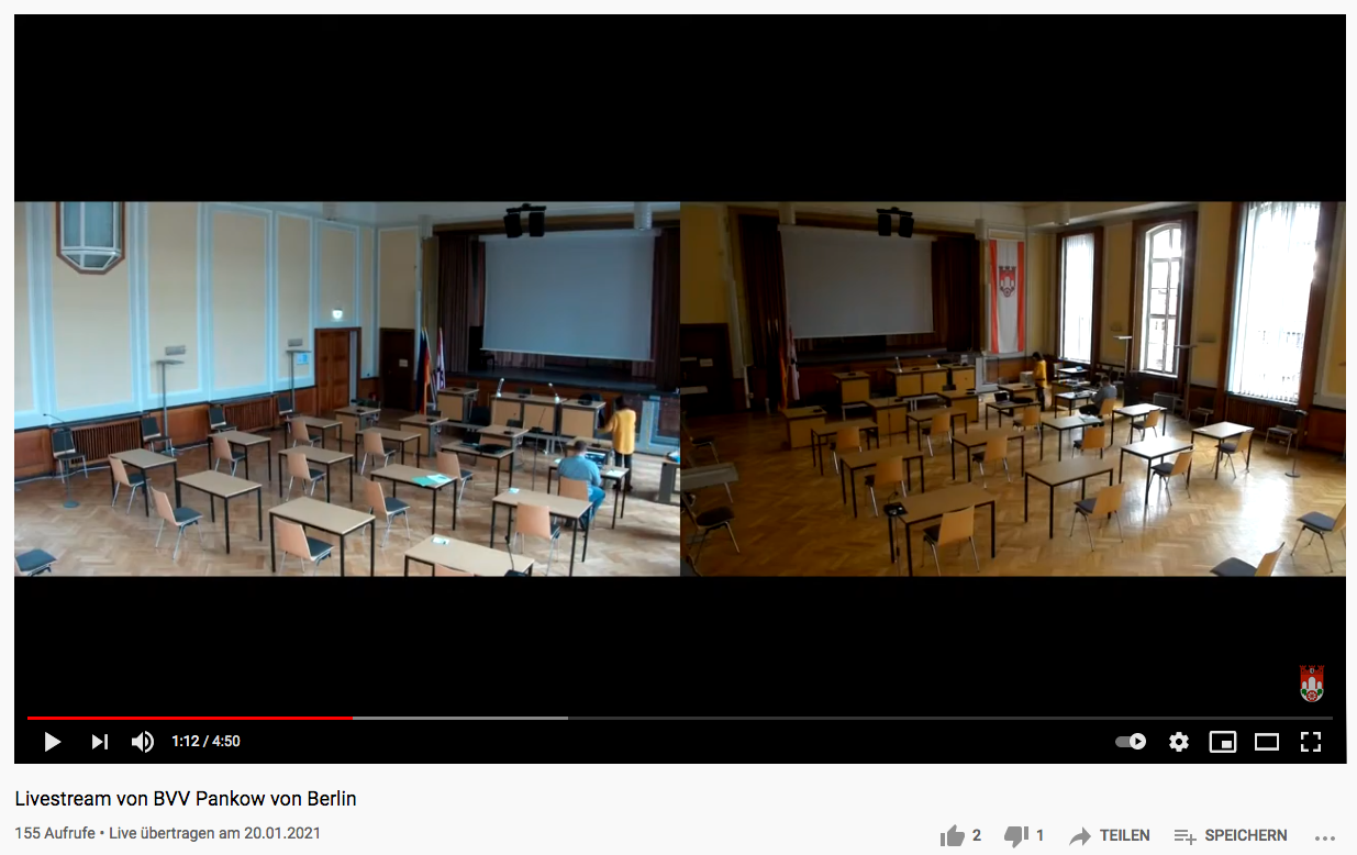 Digitalisierung - Livestream aus dem Bezirksamt. Screenshot: YouTube
