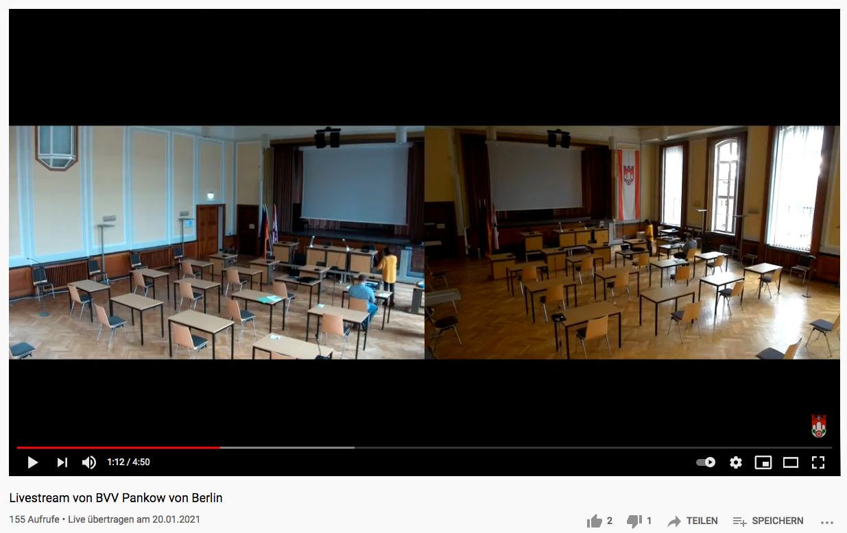 Digitalisierung - Livestream aus dem Bezirksamt. Screenshot: YouTube